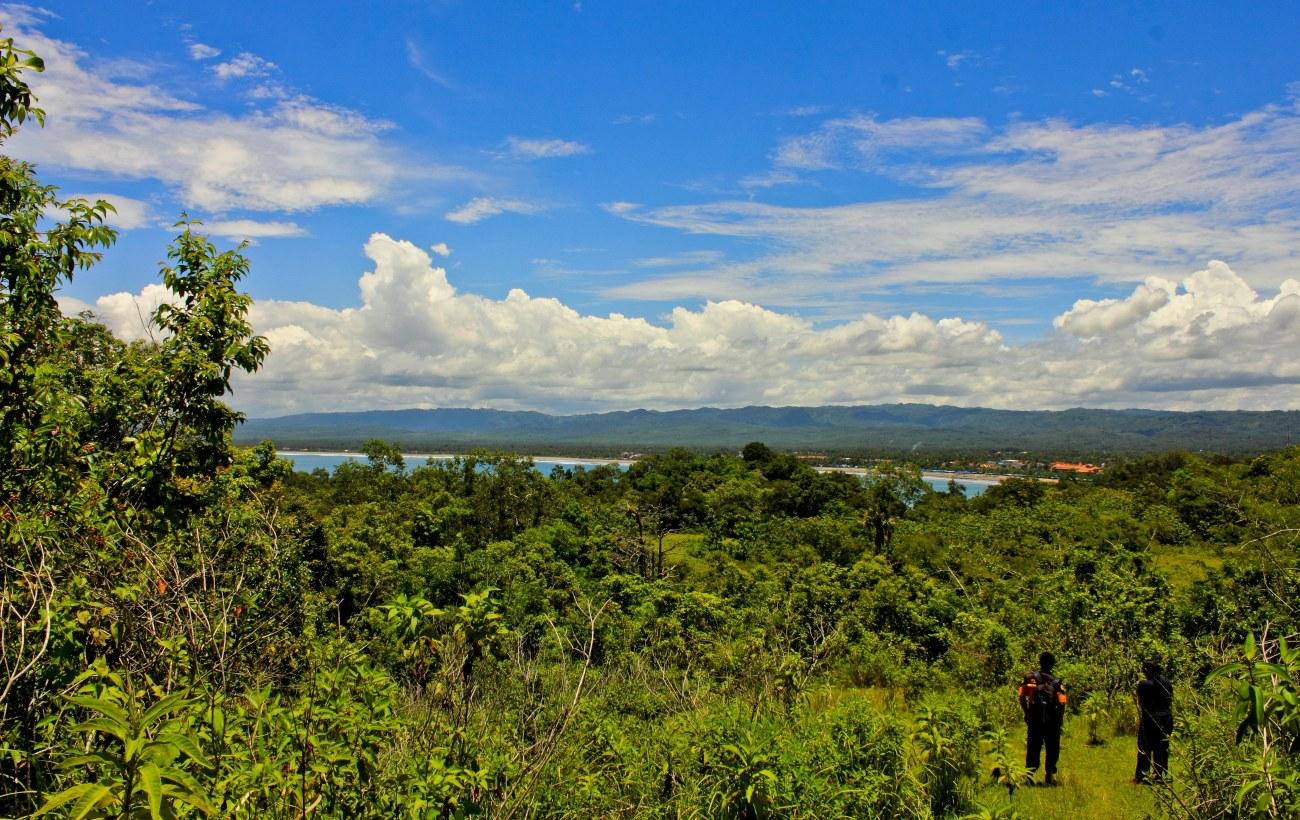 Pemandangan dari bukit di Hutan Pananjung. Pemandangan ini menghadap ke arah Pantai Barat Pangandaran.