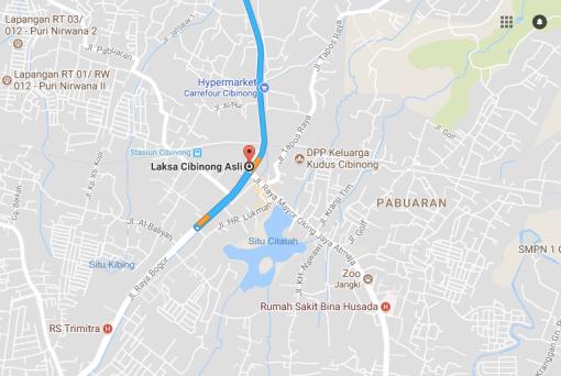 Ini rute kalau dari arah Jakarta melalui Jalan Raya Bogor