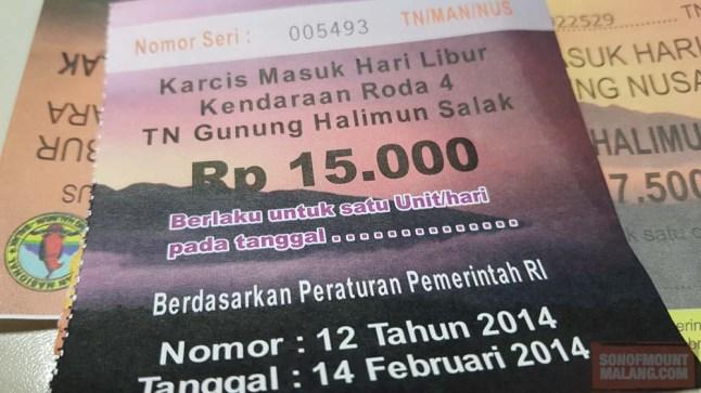 Harga tiket untuk mobil.
