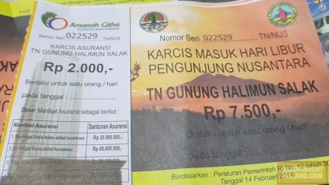 Harga tiket untuk orang.
