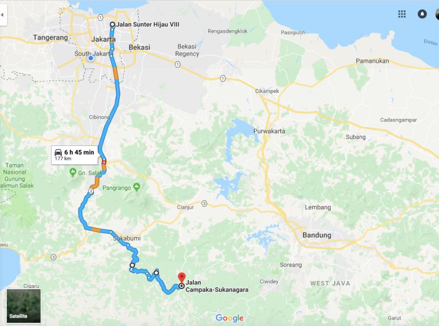 Jakarta - Sukabumi - Cianjur Selatan - Sukanagara