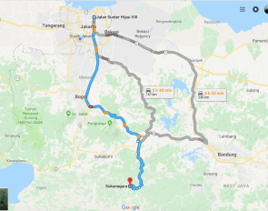 Sukanagara - Cianjur Kota - Puncak - Jakarta